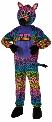 Forum Novelties Men's Party Animal Zebra Plush Mascot Costume, Multi Colored, One (Man In Horse Costume)