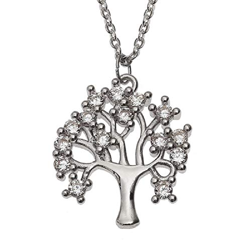 18' Gold Filled Chain - Talbot Fashions Tree of Life Necklace - Silver Color Stunning Pendant and 18'' Chain - Comes in Wish Jewellery Presentation Box