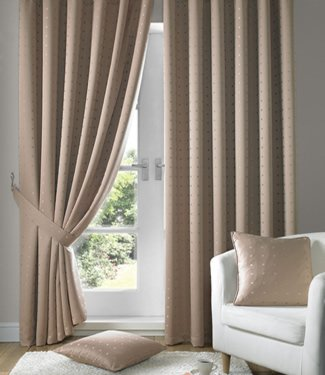 Latte Beige Curtains Tape Top Madison 90x72