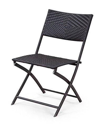 Belleze Folding Table Chair Bistro Set Rattan Wicker