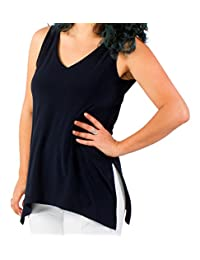 Sympli Womens Sleeveless Go To Wide Vneck