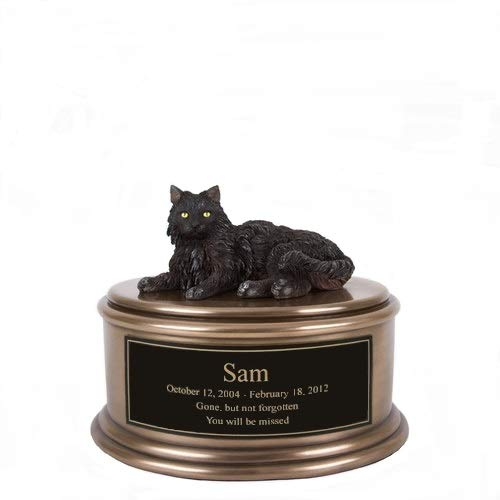 Perfect Memorials Custom Engraved Hand Painted Black Cat Figurine Cremation ()