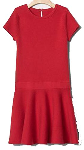 Gap Kids Girls Red Ribbed Drop Waist Sweater Dress XS 4 ()