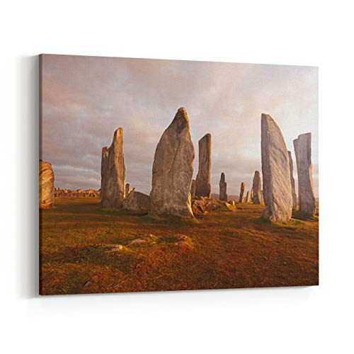 Rosenberry Rooms Canvas Wall Art Prints - Callanish Standing Stones Neolithic Stone Circle in Isle of Lewis, Scotland (48 x 32 inches)