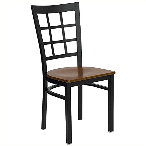 Bowery Hill Black Window Back Dining Chair in Cherry