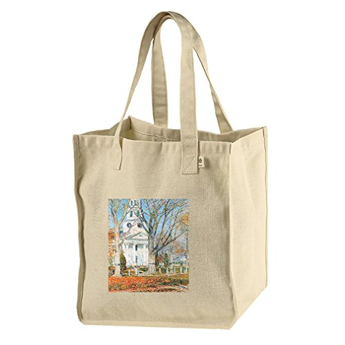 Church Old Lyme Connecticut #1 (Hassam) Hemp/Cotton Canvas Market Bag Tote by Style in Print