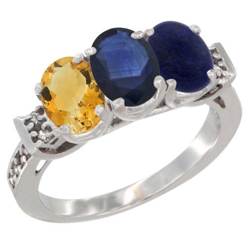 10K White Gold Natural Citrine, Blue Sapphire & Lapis Ring 3-Stone Oval 7x5 mm Diamond Accent, size 10 Blue Sapphire Lapis Ring