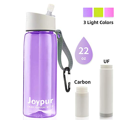 joypur Water Filter Bottle BPA Free with 4-Stage Intergrated Filter Straw for Travel, Camping, Hiking, Backpacking, Purple