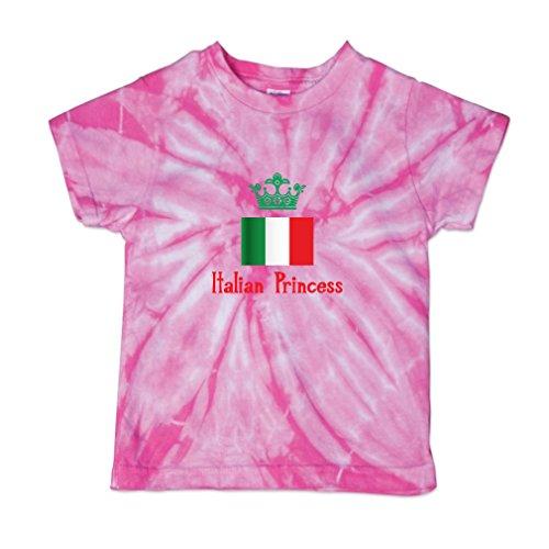 Cute Rascals Italian Princess Crown Baby Kid 100% Cotton Tie Dye Fine Jersey T-Shirt Tee - Pink, - 100% Italian T-shirts
