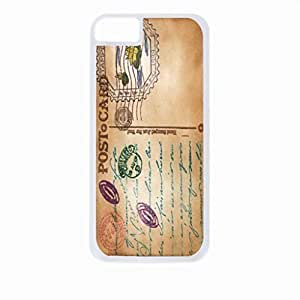 Vintage Style PostCard- Case for the Apple Iphone 5-5s Universal-Hard White Plastic Outer Shell with Inner Soft Black Rubber Lining