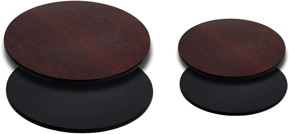 Flash Furniture 36'' Round Table Top with Black or Mahogany Reversible Laminate Top & Furniture 24'' Round Table Top with Black or Mahogany Reversible Laminate Top