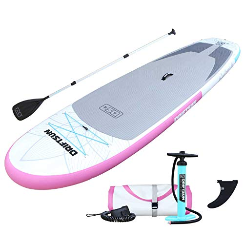 Driftsun 11-Foot Inflatable Stand-Up Extra Wide Balance Paddle Board, Yoga SUP, Complete Package with Travel Backpack, Adjustable Paddle, Coil Leash, 11-Feet x 34-Inches