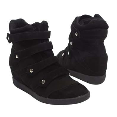 QUPID Women's PATROL23 High Top Fashion Wedge Heel Velcro Sneakers, BLACK Faux Suede (5.5 B(M) US)