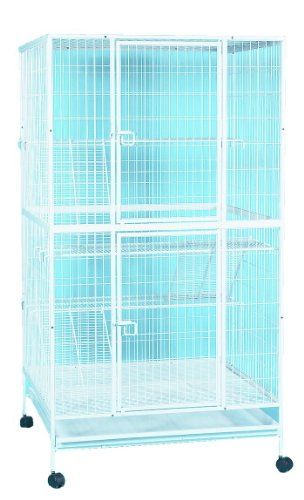 YML 35-Inch 4-Level Small Animal Cage with Wire Bottom Grate and Plastic Tray, White