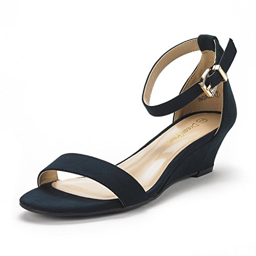- DREAM PAIRS Women's Ingrid Navy Suede Ankle Strap Low Wedge Sandals Size 10 M US