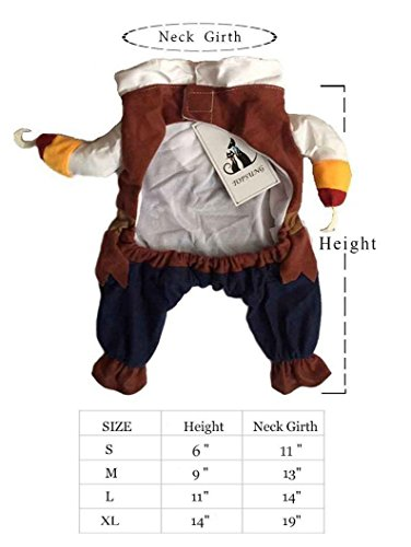 Topsung Cool Caribbean Pirate Pet Halloween Costume for Small to Medium Dogs/Cats, Size S - http://coolthings.us