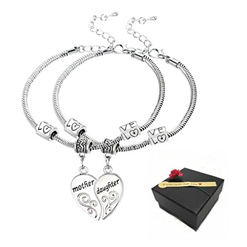 2 Pieces Silver Broken Heart Bracelet Mother And Daughter Pendant Sweater Chain Fashion Jewelry Christmas Mom Birthday Gift (Birthday Heart Pendant)