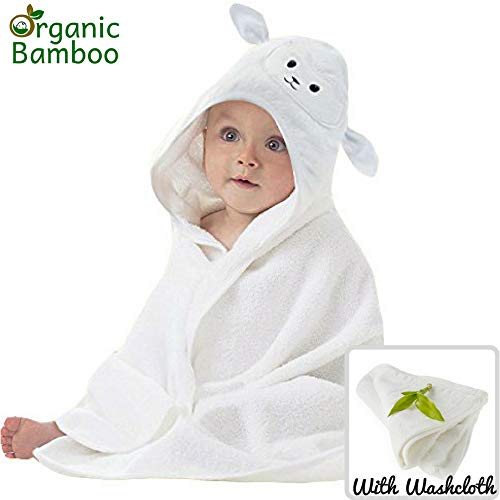 Lamb Organic Cotton - Organic Bamboo Baby Hooded Towel with Bonus Washcloth | Ultra Soft and Super Absorbent Toddler Hooded Bath Towel with Cute Lamb Face Design | Great Infant/Newborn Shower Present for Boy or Girl