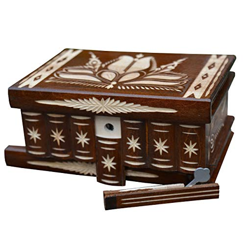 Fathers Day Gifts Puzzle box Magic Secret Mystery Trinket boxes Brain teasers Wooden lock Hidden compartment box, Made in Transylvania