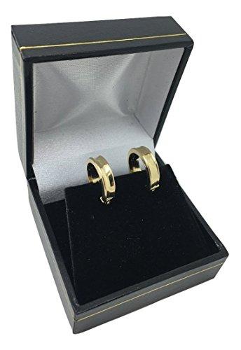 Paire de petites boucles d'oreilles créoles classiques en or jaune 18carats/750, 3,90x Ø 14mm