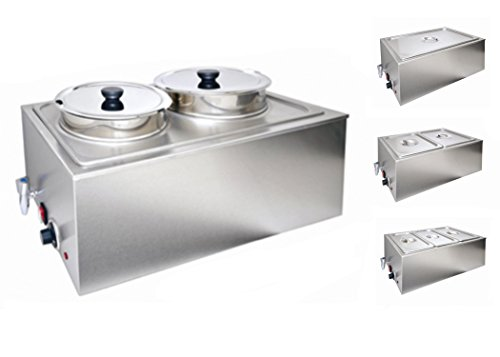 Bain Marie Electric Food Warmer and Buffet Server Steam Table, Double Section with 2 Round Wells, Pots, Pans for Restaurant (Double Round Section with Tap) (Double Server)