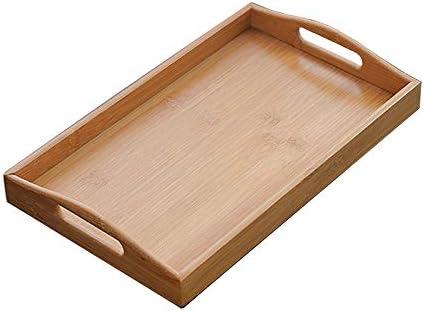 デコレーショントレイ、 コーヒーテーブルウッド朝食ドリンクスナックのハンドル木製の長方形切断トレイの食品保存プラターズプレート 魅力的で便利 (Color : Wood, Size : S)