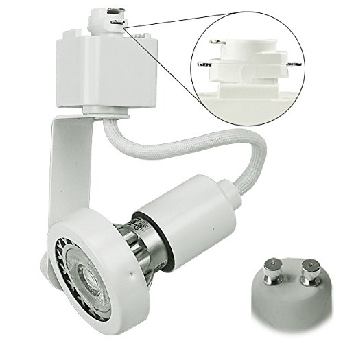 White Gimbal Ring Track Fixture Operates 50W MR16 Halo Track Compatible 120V PLT 10044
