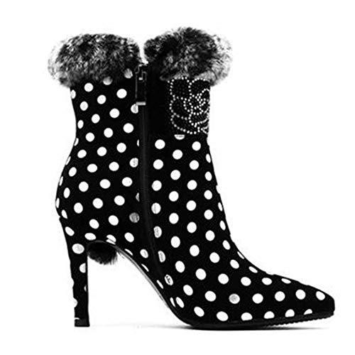 Femmes Cuir Glitter Strass Haut Dames White Stiletto Pour 9 Court Sexy Chaussures Martin Scrub En 5cm Talon Pointu Bottes rg1qr