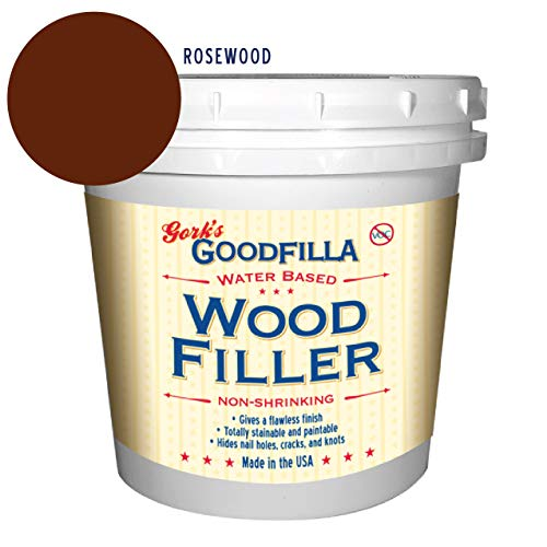 Water-Based Wood & Grain Filler - Rosewood - 1 Quart by Goodfilla | Replace Every Filler & Putty | Repairs, Finishes & Patches | Paintable, Stainable, Sandable & Quick Drying