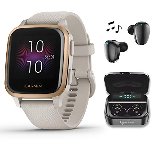 Garmin Venu Sq Music GPS Best Multisport Fitness Smartwatch Light Sand/Rose Gold with Wearable4U Black Earbuds with Charging Power Bank Case Bundle