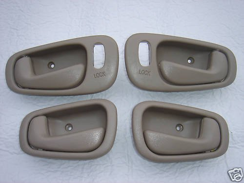 1998 1999 2000 2001 2002 Set of 4 Geo Prizm Power Lock TAN 2 LH Drivers Side and 2 RH Passengers Side Inside Door Handles for Left Hand Driver and Right Hand Passenger Interior Handle 98 99 00 01 02 for Power Locks and Manual Windows ONLY