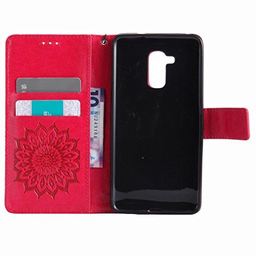 Yiizy Huawei Honor 5c Custodia Cover, Sole Petali Design Sottile Flip Portafoglio PU Pelle Cuoio Copertura Shell Case Slot Schede Cavalletto Stile Libro Bumper Protettivo Borsa (Rosso)