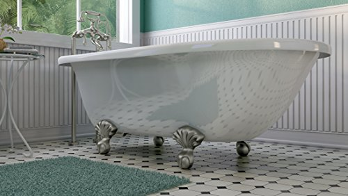 Luxury 60 inch Clawfoot Tub with Vintage Tub Design in White, includes Brushed Nickel Ball and Claw Feet and Drain, from The Laughlin Collection by Pelham & White (Image #3)