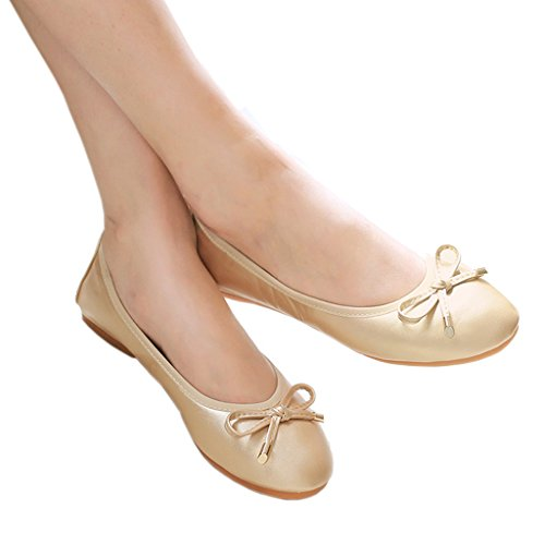 Piegato Flats Ballerine Basse Roll After Scarpe up Eagsouni® Oro Party Tascabile qwHEIH
