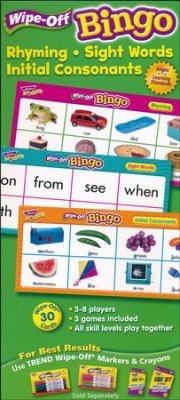 STEMtoys Rhyming, Sight Words, Initial Consonants Wipe-Off Bingo