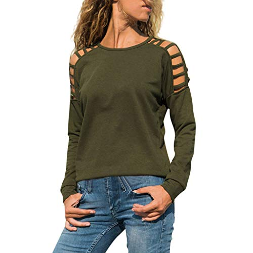 (Women's Casual O-Neck Cutout Long Sleeve Blouse Solid Comfortable T-Shirt Tops Red)