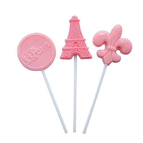 Pink Paris France Themed Suckers - 12 ct ()
