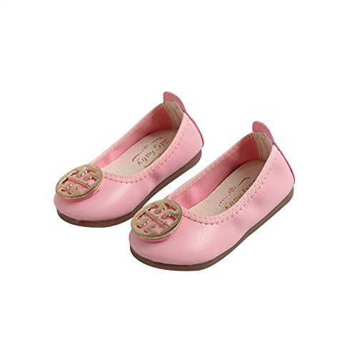 Zarachielly Girls Foldable Loafer Ballet Flats Slip On Driving Dress Boat Shoes(Pink 33/1.5 M US Boys Girls)