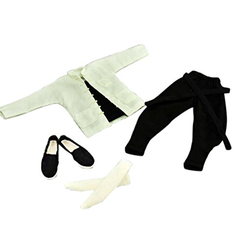 [1/6 White Suit Kung Fu Chinese Costume Clothes Accessories for 12