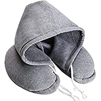 Soft Comfortable Hooded Neck Travel Pillow U Shape Airplane Neck Support Cushion with Hoodie