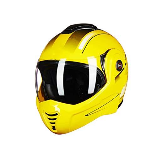 オートバイのヘルメット、男性と女性の機関車のヘルメット、ハーフカバークールハーフヘルメット、4シーズンユニバーサル冬の空ヘルメット、明るい黒M(55-56センチメートル) (色 : イエロー いえろ゜, サイズ さいず : L l) イエロー いえろ゜ L l