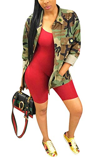 Antique Style Women's Casual Military Camo Print Lightweight Outwear Coat Camouflage Printed Pockets Front Overcoat Safari Jacket Party Club Dress L