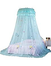 TYMX Princess Dome Mosquito Net Bed Canopy Set Adult Curtains Hanging Canopy Lace Fold Double Door Unique Butterfly Suspended Ceiling Mosquito Net Home Bedroom Decoration