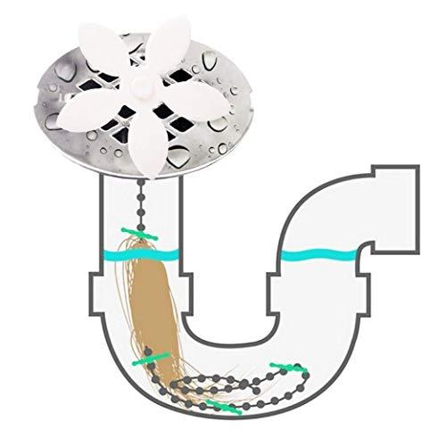 HL Pet Drain Hair Catcher - 10 Pack of Disposable Clover Shower Hair Cleaning Chain, Drain Clog Remover, Tool for Drain Cleaning - Never Clean a Clogged Drain Again (White Flower)