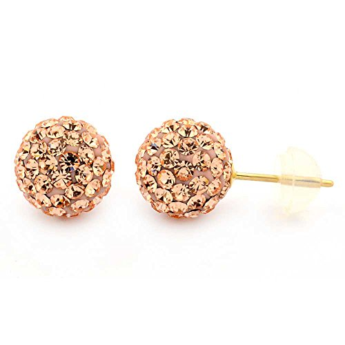 14K Gold 8mm Round Multi-Color Pave Crystal Disco Ball Stud Earrings (Deal Amazon)