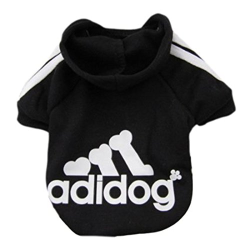 (Idepet Pet Dog Cat Hoodie Cotton Puppy Sweater Teddy Clothes Poodle Coat Chihuahua Dog Jacket Clothing for Small Dog Size S M L XL XXL (M, Black))
