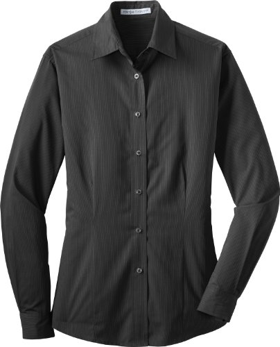 Autoridad Portuaria Mujer Tonal abierto cuello cuidado fácil camiseta Negro Dark Charcoal XX-Large