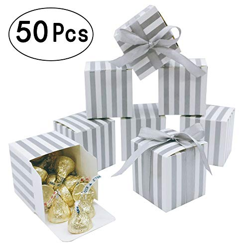 Silver Party Favors Treat Boxes - Candy Treat Boxes Bulk Small Silver Stripes Gift Box for Bachelorette Wedding Engagement Bridal Shower Party Baby Shower Birthday Party Favors Boxes Supplies, 2x2x2 inch, 50pc ()