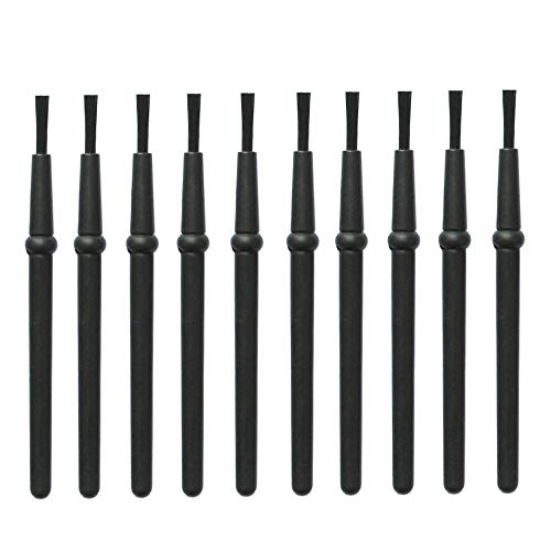 ESDELES Pack of 10 Small Portable Anti Static ESD Brush Set Black Plastic Round Handle Lab Cleaning Camera Phone PCB Brush Kit