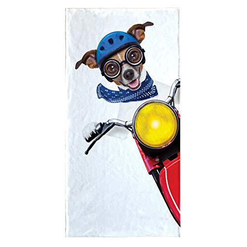 OZINCI 3D Printing Cute Dog Themed Beach Towel, Perfect for Beach and Swimming Pool for Both Adults and Kids, Turkish Cotton Towel, Over Sized Super Soft Absorbent Large Towels ()